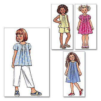 Children's Girls' Top, Dress, Shorts And Pants  6  7  8 Pattern B4176  060
