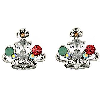 Clip On Earrings Store Silver & Multi Crystal Crown Clip On Earrings