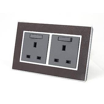 I LumoS AS Luxury Goat Skin Leather Double Switched Wall Plug 13A UK Sockets