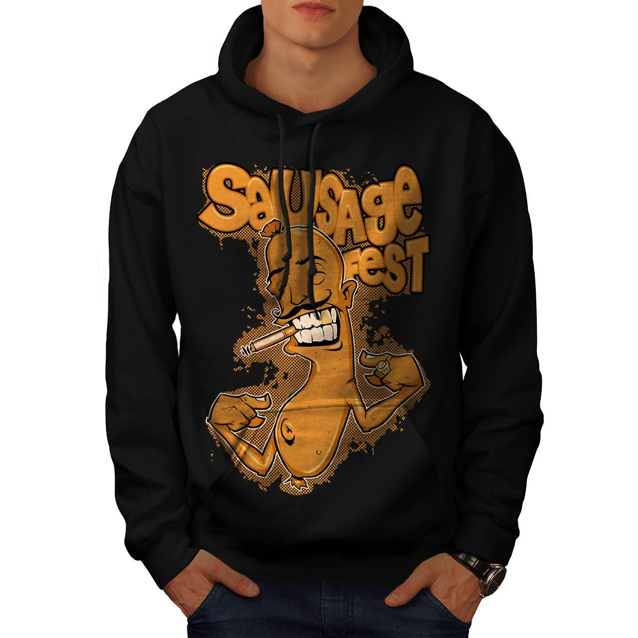 Sausage Fest Moustache Cigar Link Men Black Hoodie | Wellcoda