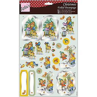 Anita's A4 Foiled Decoupage Sheet-Fun In The Snow A169697