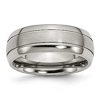 Titan riflet 8mm børstet polert Band Ring - størrelse 13,5