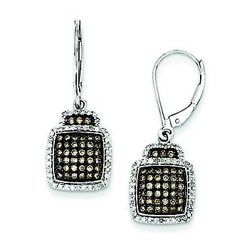 Sterling Silver Champagne Diamond Large Square Leverback Earrings - .75 dwt