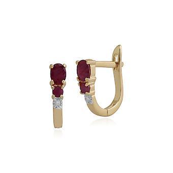 Gemondo 9ct Yellow Gold 0.61ct Ruby & Diamond Hoop Earrings