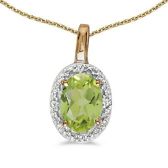 14k Yellow Gold Oval Peridot And Diamond Pendant with 18