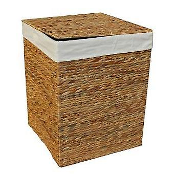 Small Water Hyacinth Square Laundry Basket