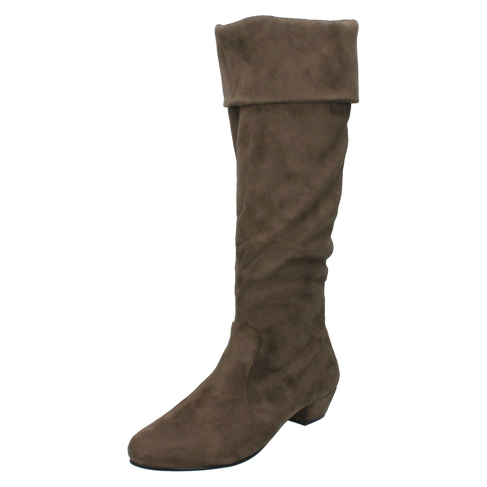 Ladies Spot On Mid Heel High Leg Boots