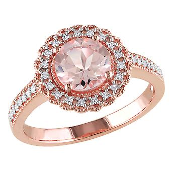 Morganite Ring 1.16 Carat (ctw) with Diamond Halo in Rose Sterling Silver