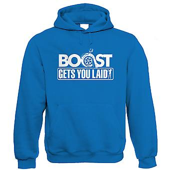 Vectorbomb, Boost Gets You Laid, Mens Funny Car Hoodie (S to 5XL)
