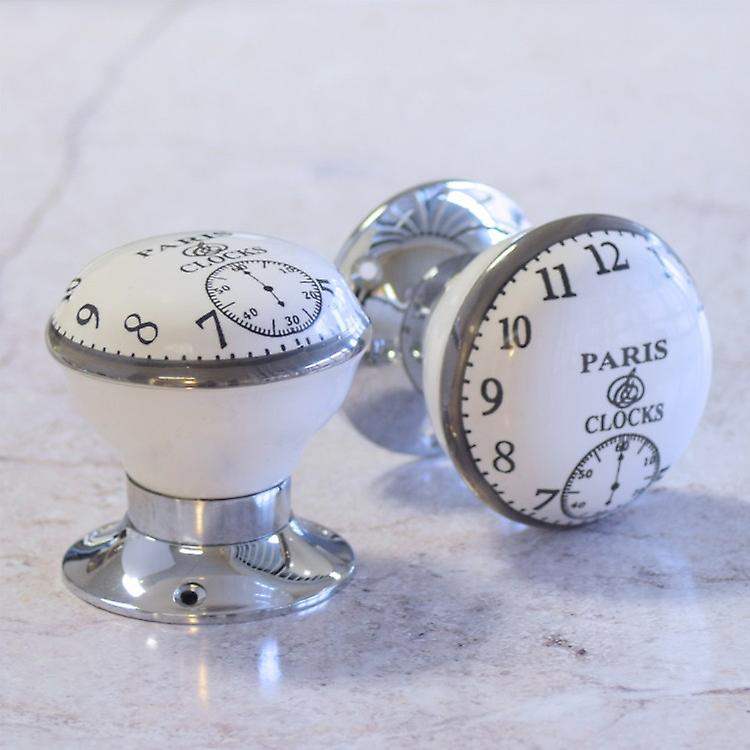 Paris Clock Ceramic Mortice Door Knobs