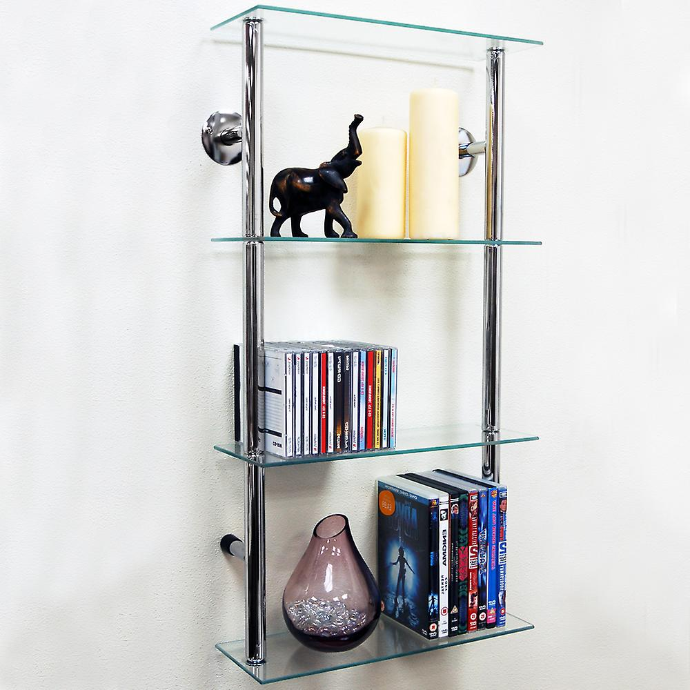 Maxwell - Wall Mounted Glass 90 Cd / 60 Dvd Storage Shelves - Clear / Silver