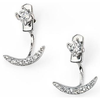 925 Silver Plated Rhodium Crescent Moon And Zirconium Earring