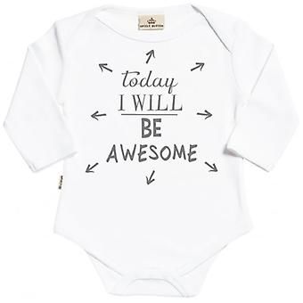 Spoilt Rotten Today I Will Be Awesome Long Sleeve Organic Baby Grow