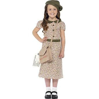 Smiffys Evacuee Girl Costume Patterned With Dress Satchel Id Tag & Beret (Costumes)