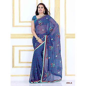 Alak sari de Georgette partido de desgaste del diseñador de Sari azul oscurezca