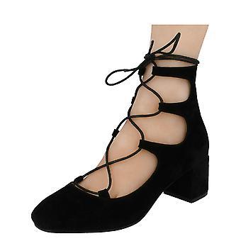 Ladies Spot On Stylish Block Heel Shoes F9889