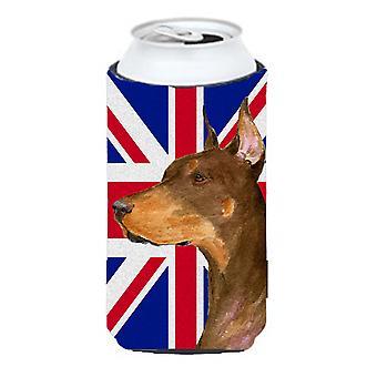Doberman with English Union Jack British Flag Tall Boy Beverage Insulator Hugger