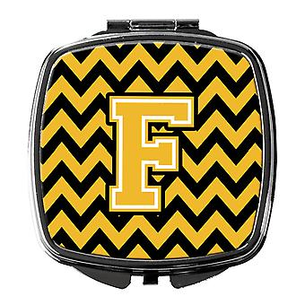 Carolines Treasures  CJ1053-FSCM Letter F Chevron Black and Gold Compact Mirror