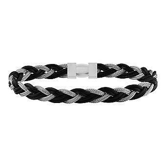Sterling Silver 925 Handmade Mens Gents Solid Bracelet Black Leather with Magnetic Clasp Italian Handcraft