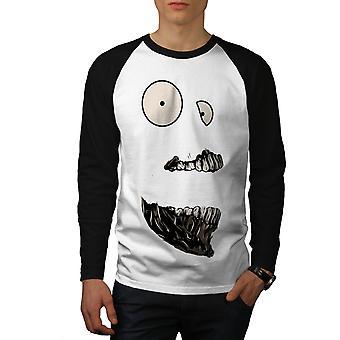 Skremmende Monster ansikt menn hvit (svart ermene) Baseball LS t-skjorte   Wellcoda