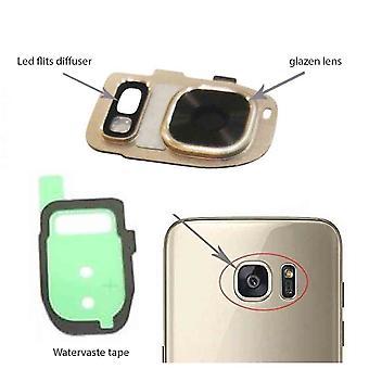Samsung Galaxy S7/S7 Kante hinter der Kamera-Objektiv-Abdeckung, Glaslinse und Diffusor-Gold-komplette LED