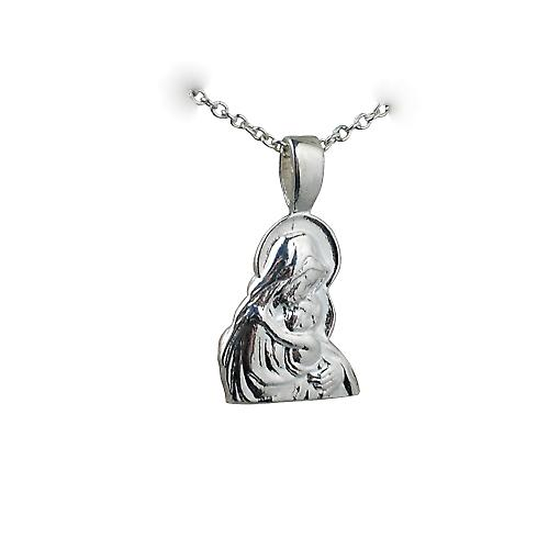Silver 15x12mm Madonna and Child Pendant with a rolo Chain 14 inches Only Suitable for Children