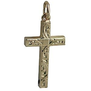 9ct Gold 25x15mm hand engraved solid block Cross