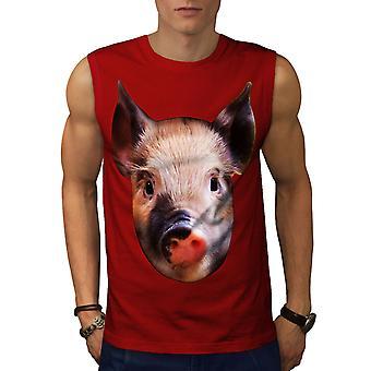 Pig Farm Face Cute Men RedSleeveless T-shirt | Wellcoda
