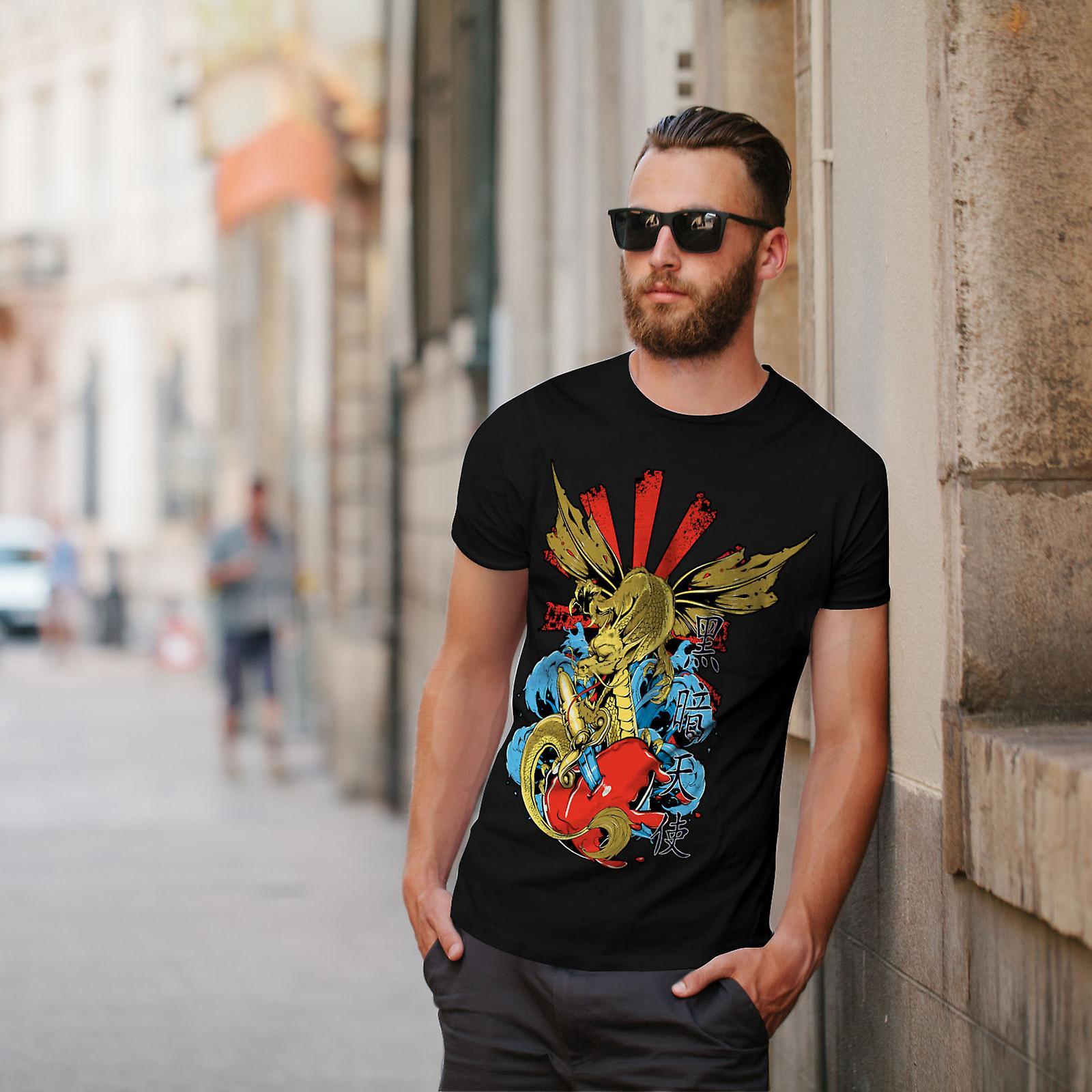Japanese Skull Fantasy Men Black T-shirt   Wellcoda