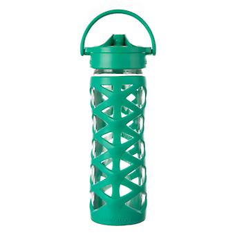LifeFactory Lifefactory 16 oz Glass Bottle with Axis Straw Cap - Aquatic Green