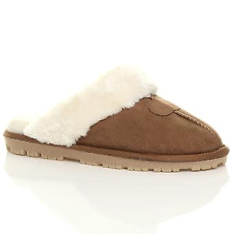 Ajvani womens platte winter faux schapenvacht bont gevoerde slip op luxe muildieren pantoffels-schoenen