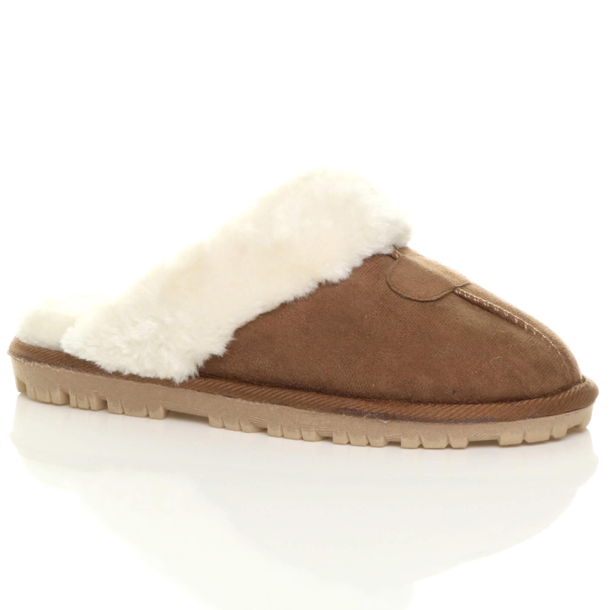 flat slip on mules womens lined luxury sheepskin shoes fur Ajvani winter faux slippers 04qwp8x