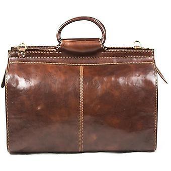 Genuine Italian Leather Travel Bag Weekend Valise Duffel Overnight Brown Unisex
