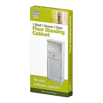 White Wooden Cabinet Organizer Unit 1 Drawer Cupboard Storage Bathroom Bedroom
