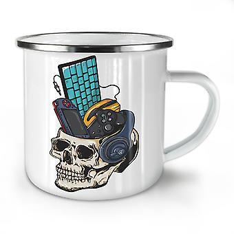 Skull Gaming PC Geek NEW WhiteTea Coffee Enamel Mug10 oz | Wellcoda