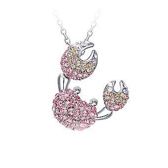 Pendentif Femme Crabe en Cristal Swarovski Elements Rose et Plaqué Rhodium