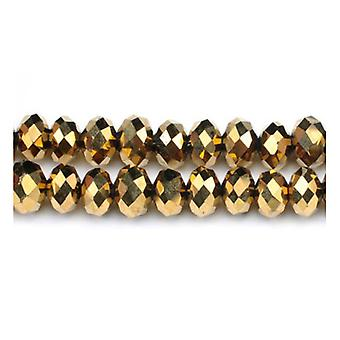 Strand 70+ Golden Czech Crystal Glass 6 x 8mm Faceted Rondelle Beads GC3534-3