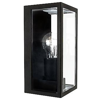 Contemporary Matt Black IP44 Outdoor Wall Light with Bevelled Glass Sides