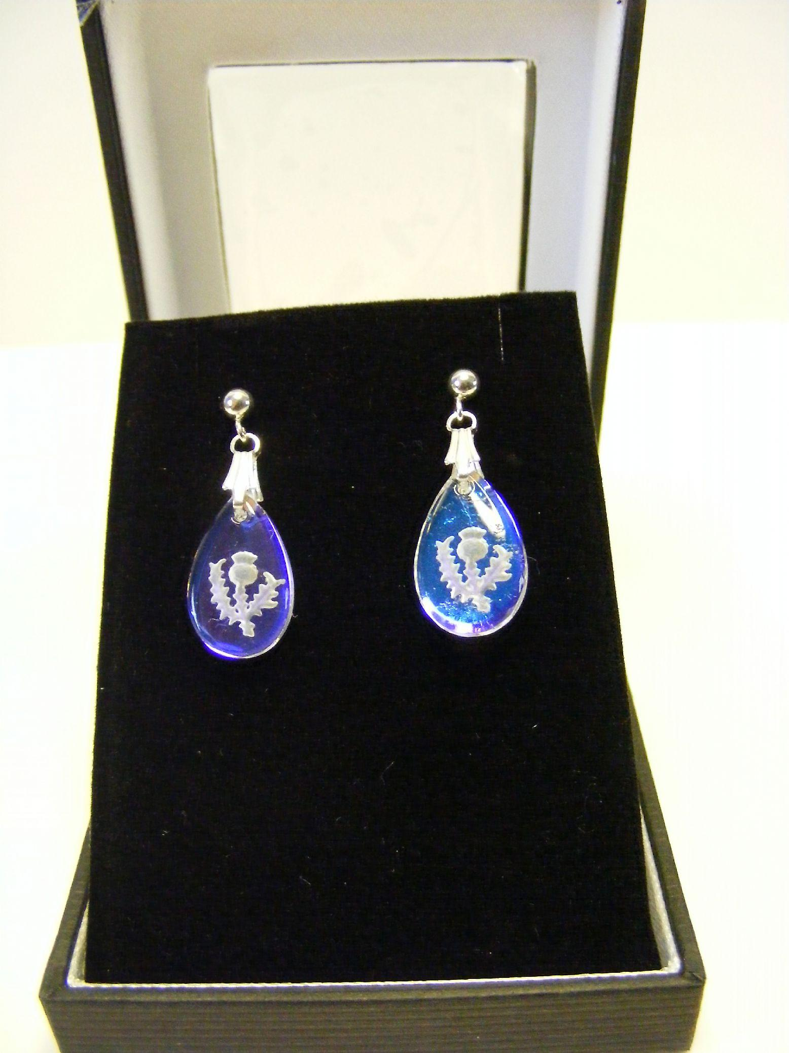 Ice Blue Thistle Teardrop Oval Crystal earrings