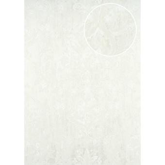 Baroque wallpaper ATLAS CLA-602-1 non-woven wallpaper embossed with floral ornaments shiny white perl 5.33 m2