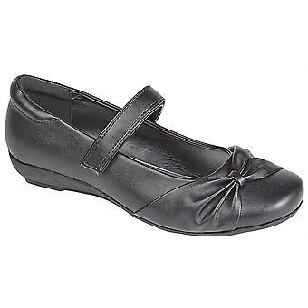 Girls Kids Touch Fastening Low Wedge School Bar Formal Shoes