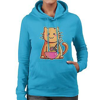 Katze mit Stäbchen Frauen das Sweatshirt mit Kapuze