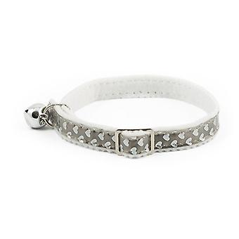 Reflective Hearts Safety Cat Collar Silver
