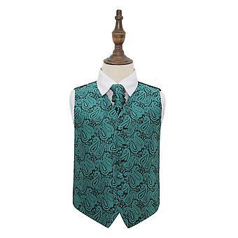 Teal Paisley bruiloft gilet & Cravat Set voor jongens