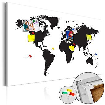 Foto op kurk - WereldKaart: zwart & wit elegantie [Cork kaart]