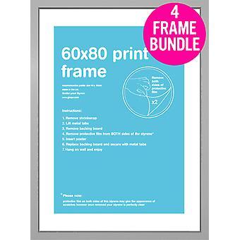 GB Posters 4 Silver MDF Poster Frames 60 x 80cm Bundle