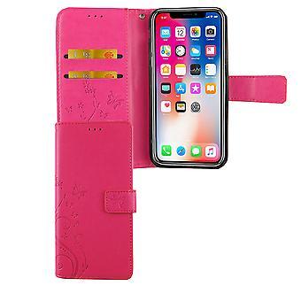 Apple iPhone XS Handy-Hülle Schutz-Tasche Cover Flip-Case Kartenfach Pink
