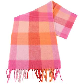 Bassin and Brown Redwood Check Cashmere Scarf  - Pink/Orange