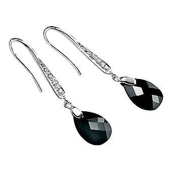 Elements Silver Teardrop Hook Drop Earrings - Silver/Clear/Black