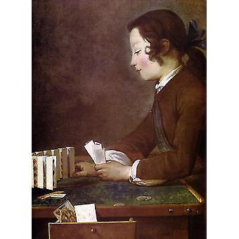 The House of Cards, jean-Baptiste-Simeon Chardin, 50x40cm